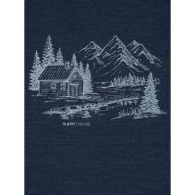 super.natural Graphic Camiseta Hombre, blue iris melange/fresh white